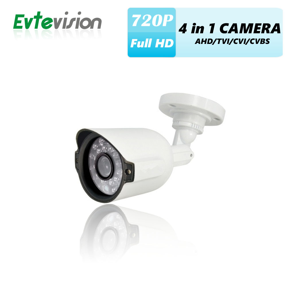 Evtevision CCTV IR Bullet Camera 720P 4 in 1 AHD/TVI/CVI/CVBS 3.6MM Fixed Lens Security Camera 24pcs LED 20M Night vision Cam bullet camera tube camera headset holder with varied size in diameter