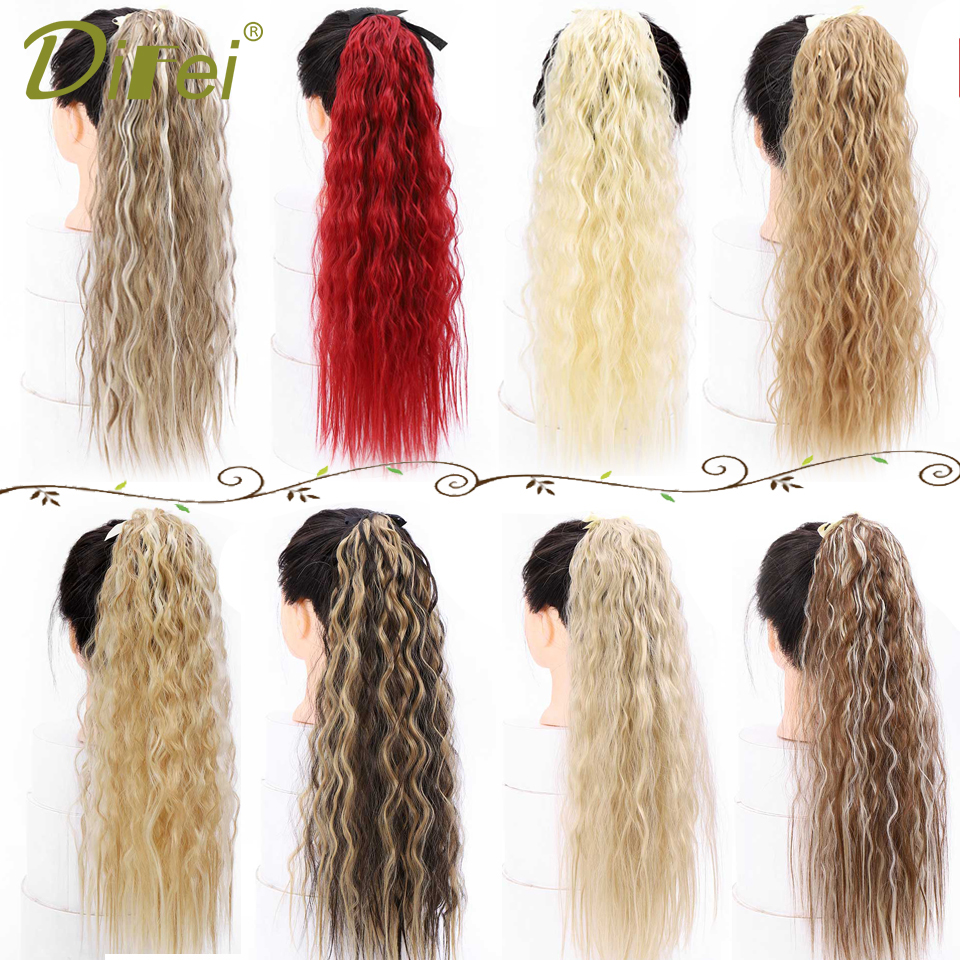 DIFEI Long Corn Curly Black Ponytail For Women Synthetic Ribbon Drawstring Ponytail Clip In  Hair Extension