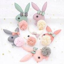 Upscale Plush Fabric Patch Bow Tie Rhinestone Chiffon Ball Cartoon Rabbit Applique for Clothing Craft Sticker DIY Hair Decor S63
