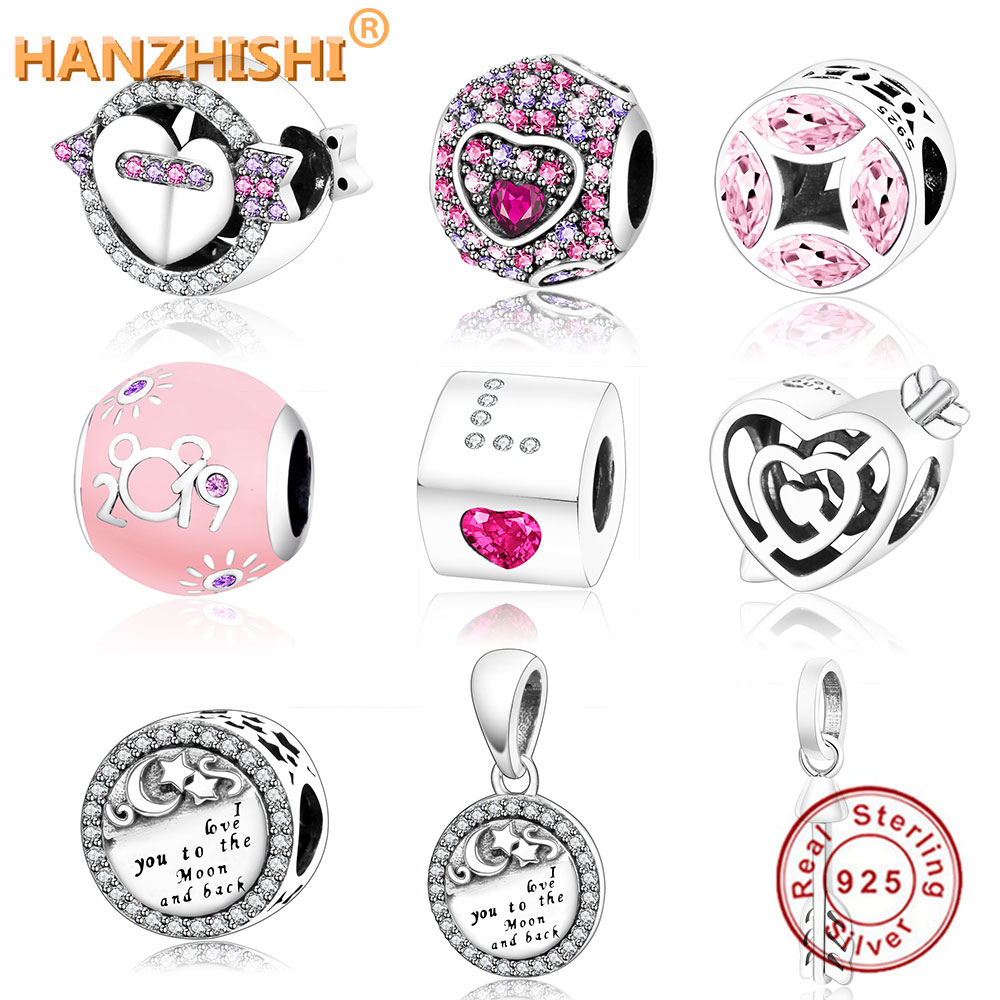 Fit Original Pandora Charm Náramek 100% 925 Sterling Silver Charm Bead 2019 Valentýn Dárkové Šperky DIY Berloqeu Plata 925