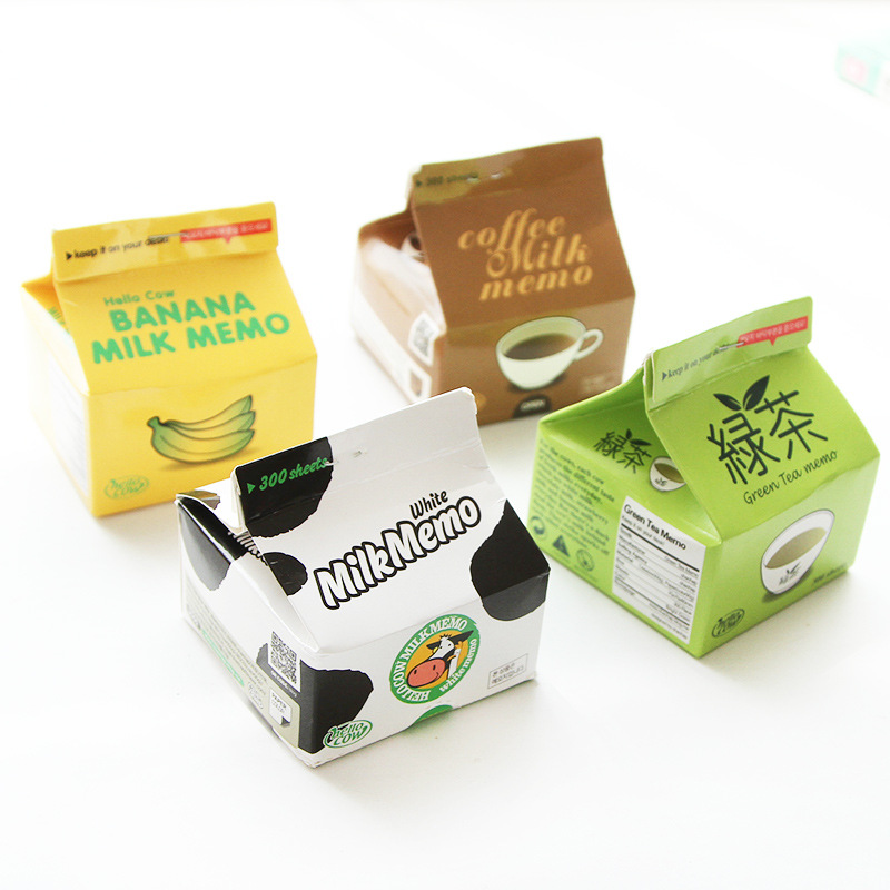 Creative Simulated Milk Coffee Box Memo Pads School Supply Bookmark Post it Label 300 Sheets
