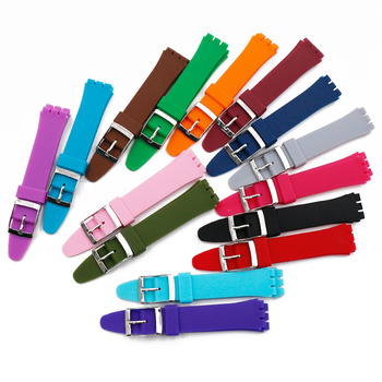 Watch accessories pin buckle 17mm19mm silicone strap men for Swatch SUOB704SUOW701GW164GB274SUTB402 waterproof strap watch band цена 2017