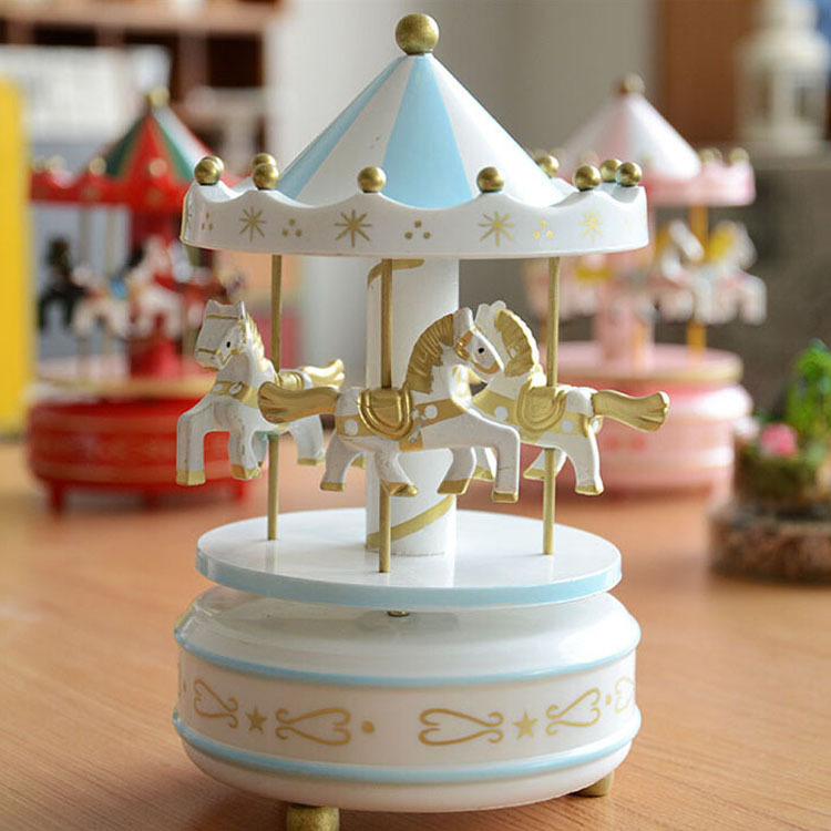 1 Piece Vintage Merry-Go-Round Carousel Horse Music Box For Kids Birthday Wedding Gift Toy Home Desk Decoraton