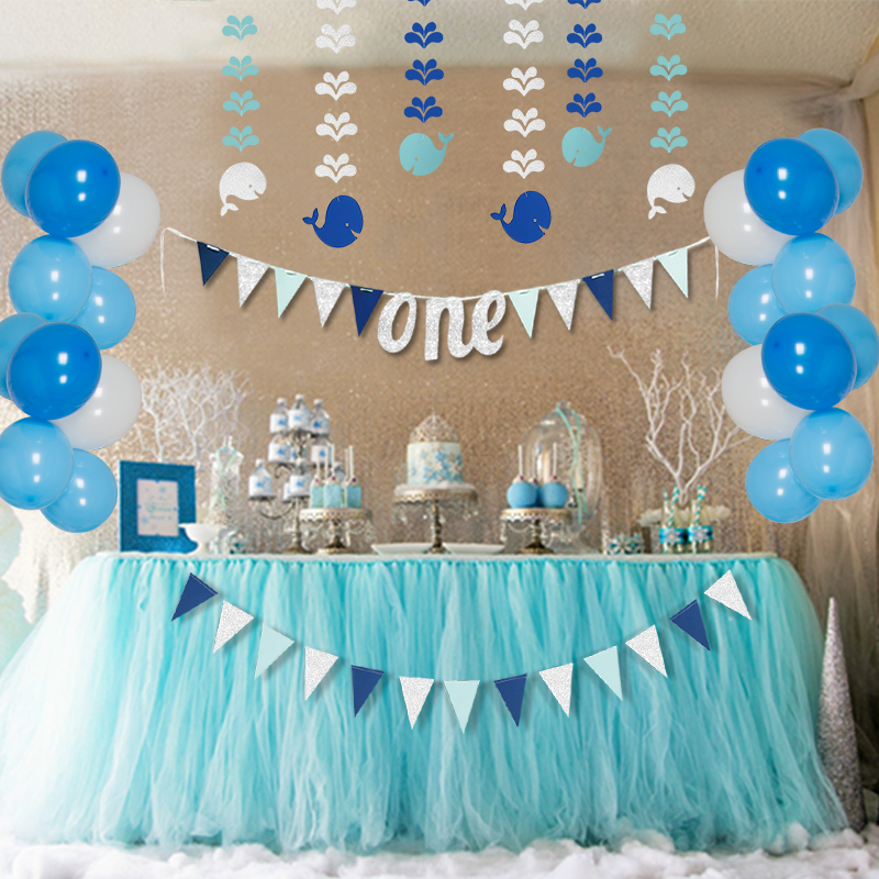 Blue 1st Birthday Party Decorations Sets Kids One Year Paper Fish Banner Baby Balloons Girls