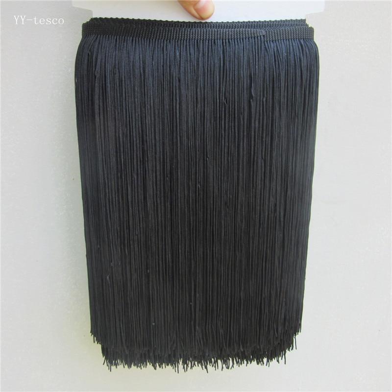 5 Yard 30CM Long Black Polyester Fringe Trim African Tassel Ribbon Lace Accessory Sew Latin Dress Curtain DIY Accessories