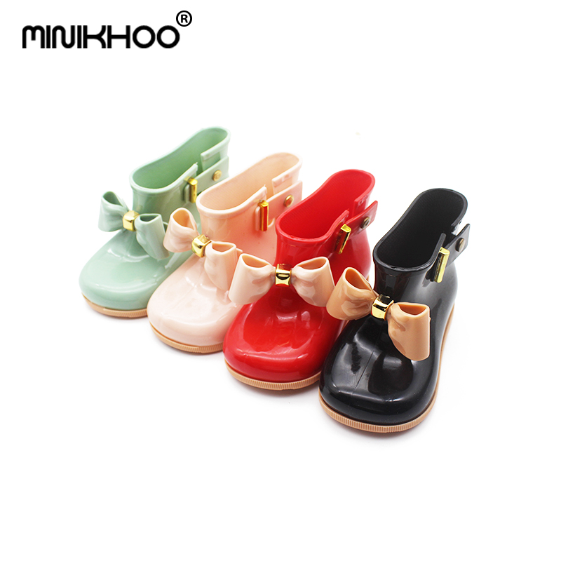 Mini Melissa 2018 New Bow Boots Waterproof Melissa Girl Jelly Sandals Baby Shoes Breathable Melissa Rain Boots Beach Sandals