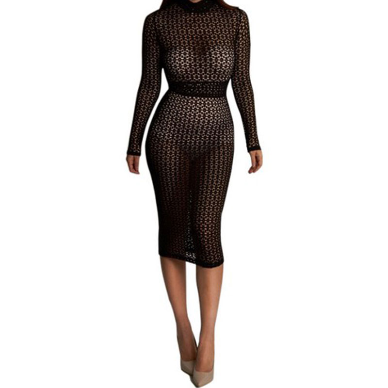 015012f1443a Womens Sexy Dresses Party Night Club Dress Long Sleeve Bodycon Dress Hollow  Out Black Sheer Lace Midi Dress Vestidos Femininos