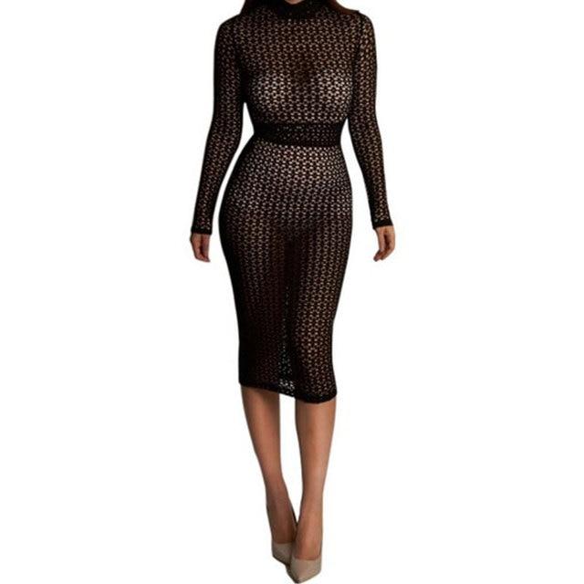 12a701c23c Womens Sexy Dresses Party Night Club Dress Long Sleeve Bodycon Dress Hollow  Out Black Sheer Lace Midi Dress Vestidos Femininos