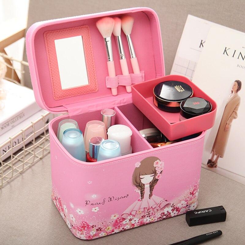 New Professional Makeup Bag Women Cosmetic Case High Quality Leather Female Korean Make Up Box Large Capacity Travel Wash Bag цена
