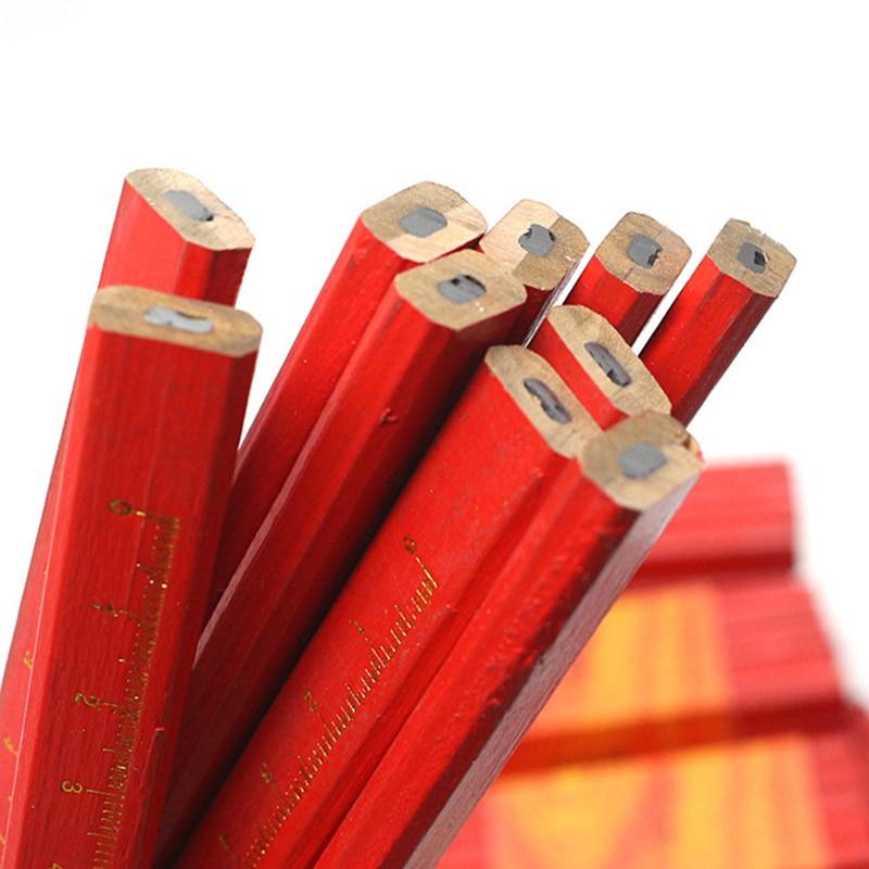 Coloffice 10PCS/Lot Carpenters Pencils Black Lead For DIY Builder Joiners Woodworking Black Thick Core Flattened Mark pen Pencil