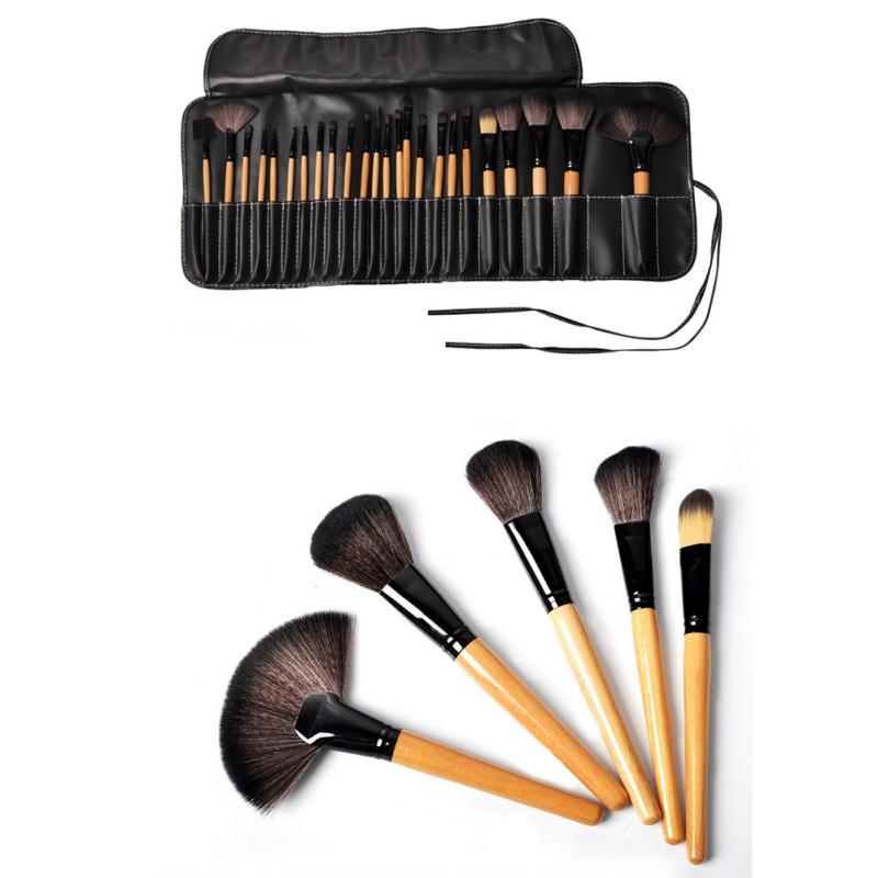 Top Quality!!! Professional 24 pcs Makeup Brush Set tools Make-up Toiletry Kit Wool Brand Make Up Brush Set 147 pcs portable professional watch repair tool kit set solid hammer spring bar remover watchmaker tools watch adjustment