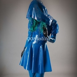 Latex Rubber Gummi Night Club Hot Sexy Hooded Skirt Fancy Ball Size XXS-XXL