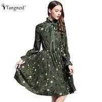 TANGNEST Women Printed Pleated Dress 2017 Spring Summer European Countryside Elegant Bowtie Dress Chiffon Vestidos WQL5367