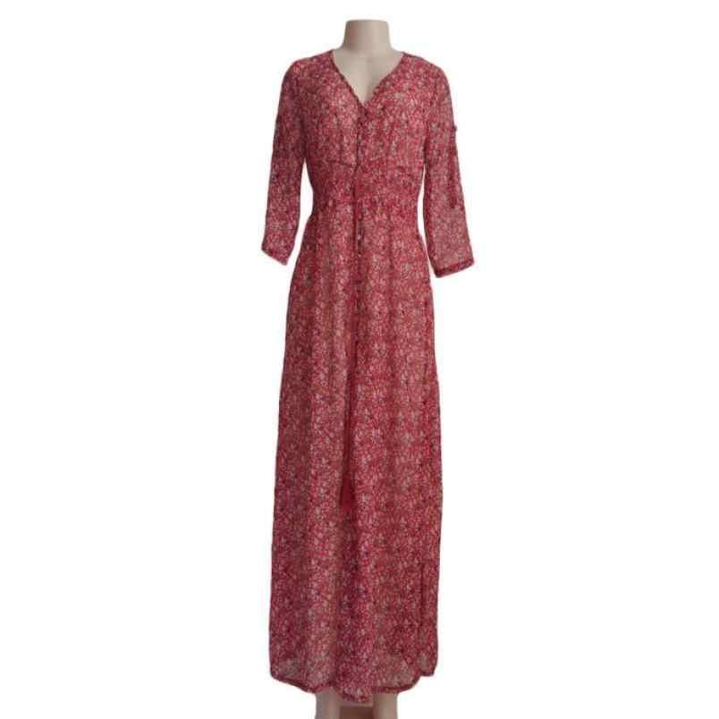 MIARHB été nouvelle mode femmes Boho mousseline de soie Floral fête plage longue Maxi robe en gros livraison gratuite N4