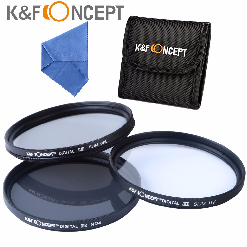 K&F CONCEPT Brand UV CPL ND4 Camera Lens Filter 52/55/58/62/67/72/77mm Cleaning Cloth+Filter Pouch For Nikon Canon DSLR Camera 11