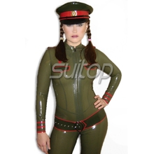 transparent latex catuits cosplay Military Army woman SUITOP RUBBER UNIFORMS