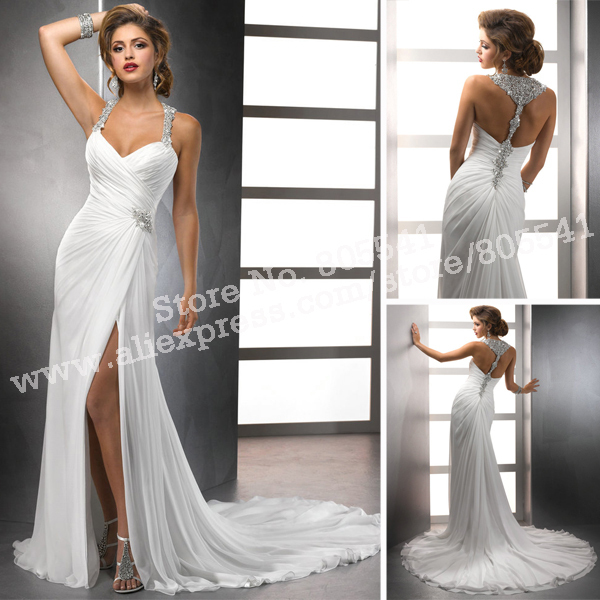 2014 Sheath White Chiffon Front Silt Halter Casual Style ...Halter Top Backless Wedding Dresses