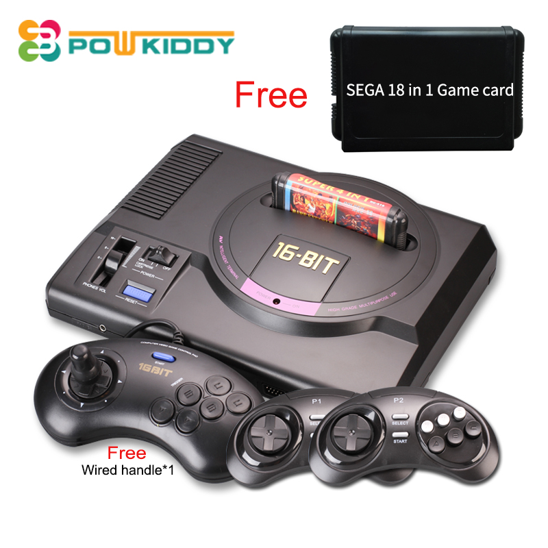 Hot hd Video Game Console sega mega drive game consol Genesis 18 in 1 free games cartridge  with 2.4G wireless controller sega