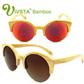 IVSTA Bamboo Sunglasses Women Cat Eye Glasses Wooden Polarized polaroid Handmade Retro Mirror Revo Wood Eyewear Cats Beach VB003