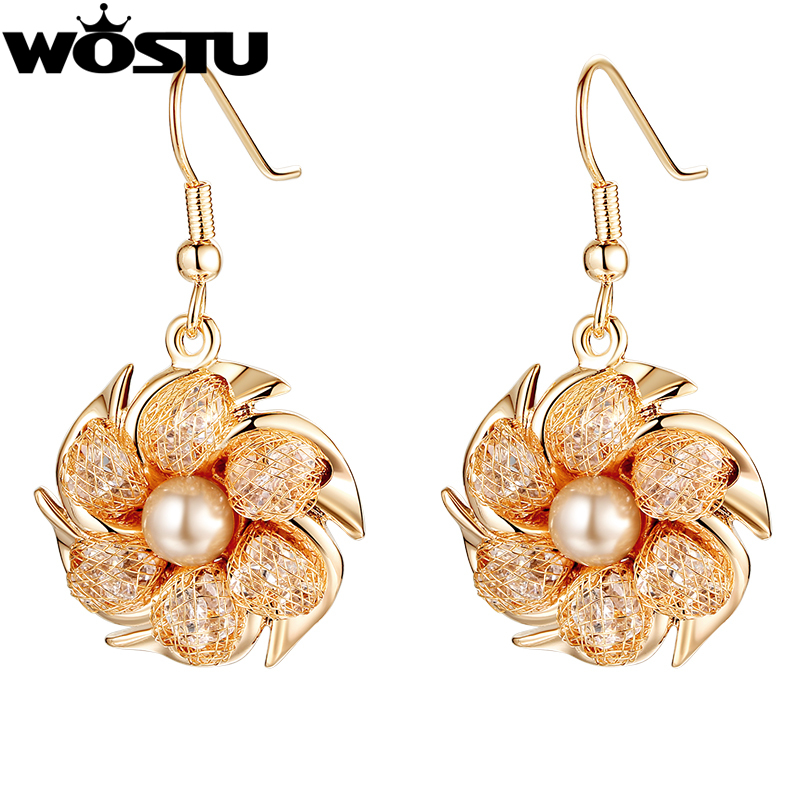 Champagne Gold Color Drop Earrings with Pearl For Women Jewelry ...