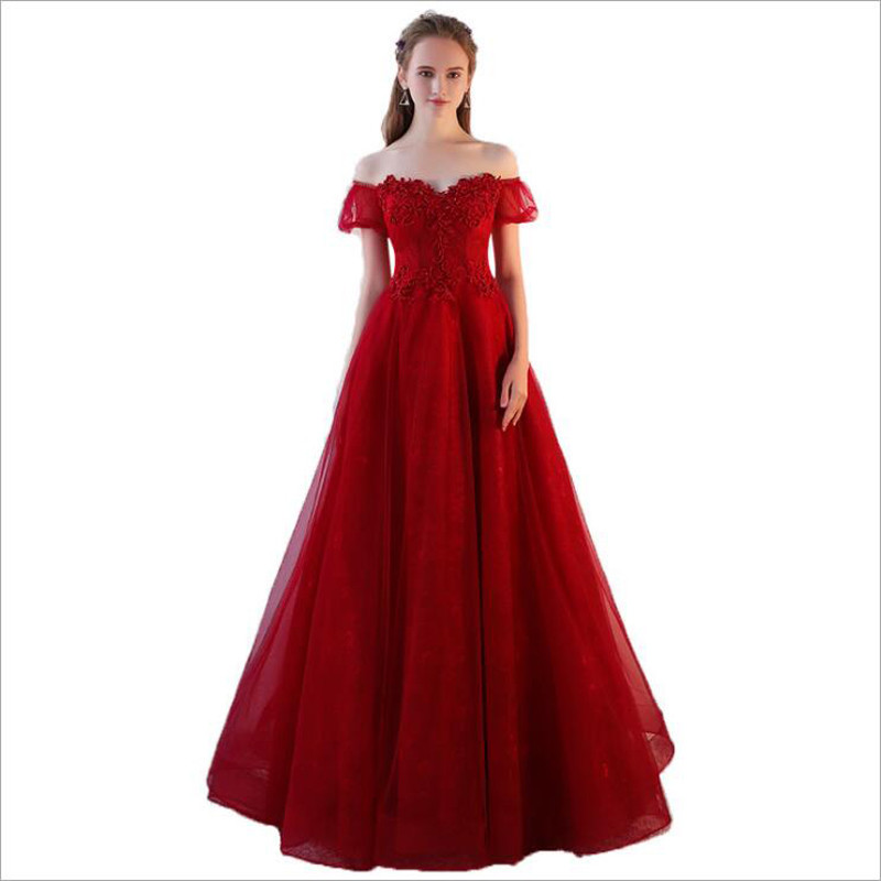 2019 Rose Red New Beads Vintage Boat neck A-line Long   Evening     Dress   with Sleeves Pregnant woman Prom Party   Dresses