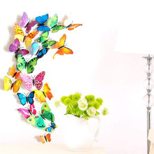 12pcs Colour Butterfly Party Diy Decorations Stickers Children Kids DIY Craft Home Party Holiday Decoration Room Wall Art(China)