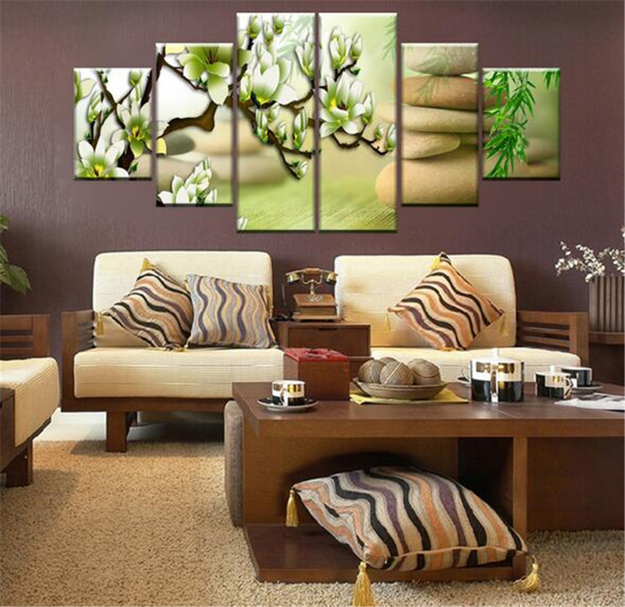 Cheap Large Frames Part - 26: Wall Pictures For Living Room Bedroom Cobblestone Magnolia Flower Picture  Modern Multi Panel Large No Frames
