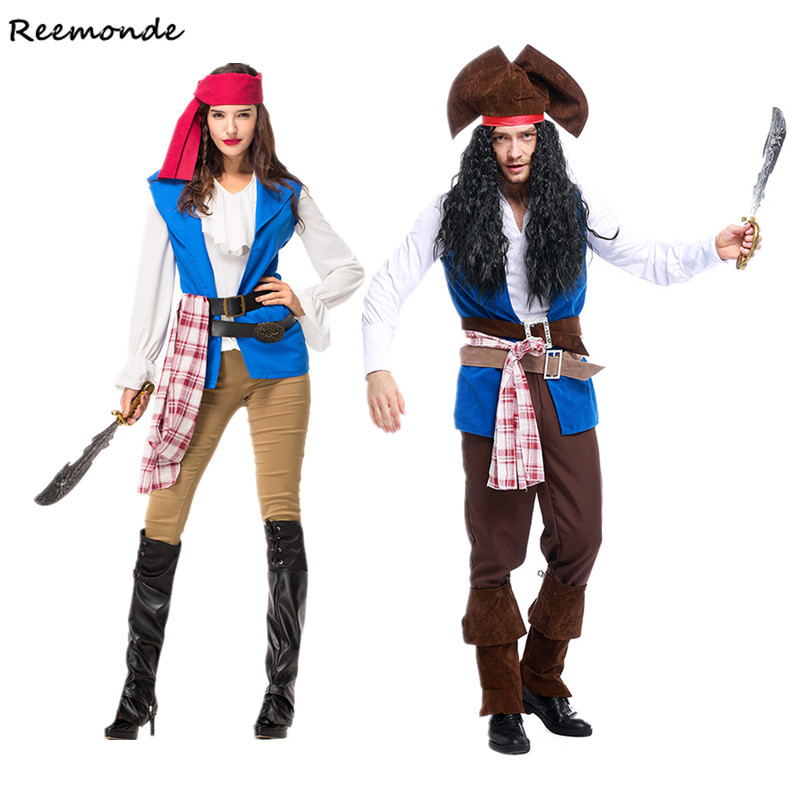 Men Pirate Jack  Cosplay Costumes Pirate Of The Caribbean Uniforms Dress Hat For Women Full Set Halloween Fancy Party Clothing