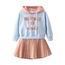 Children Spring Autumn Girls Hoodies Dress 2018 Cotton Letter Kids Dresses for Girl Sweatshirts Clothing Child Princess Clothes
