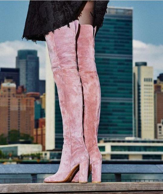 1cc94e395019 Sexy Pink Velvet Thigh High Boots For Plus Size Women Chunky Heels Women  Shoes Winter Over The Knee Boots Ladies Wide Calf Boots