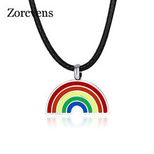 ZORCVENS New Cute Rainbow Women Men Stainless Steel Jewelry Leather Rope Chain Gay & Lesbian Pride Pendant Necklace