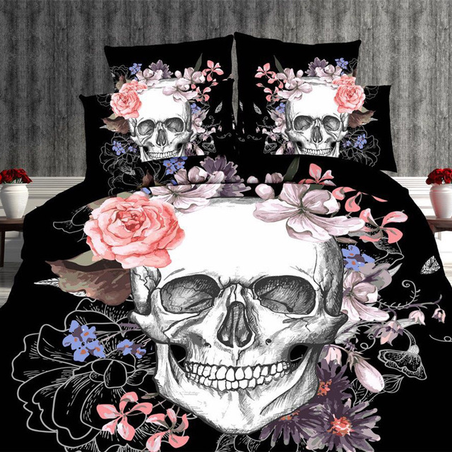 2pcs/set 3D Personality Cool Bohemia Skull Printed Soft Bedding Set Comforter Cover Pillowcase Duvet Cover for Adults Room Decor