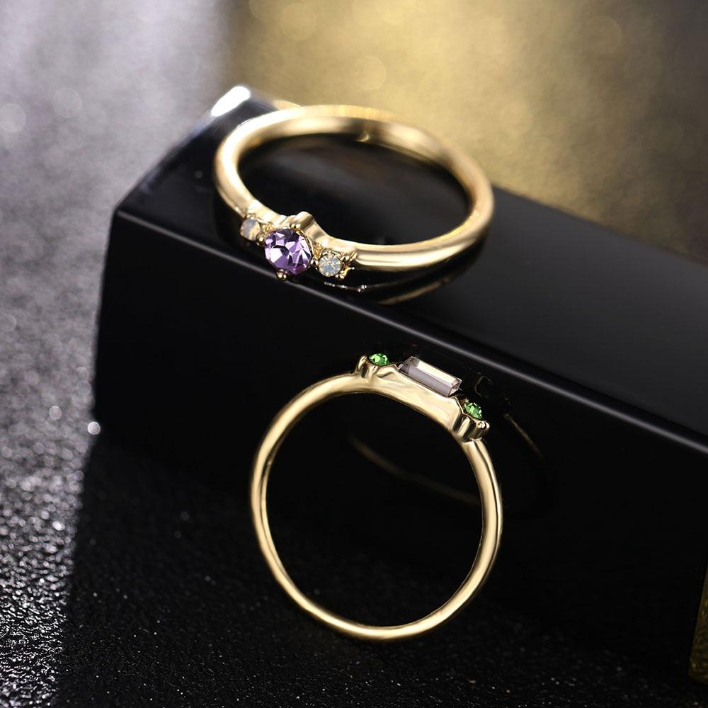 IPARAM 4 Pcs/set Crystal Zircon Gold Ring Set 19 Vintage Bohemian Women Engagement Party Ring Set Jewelry 10