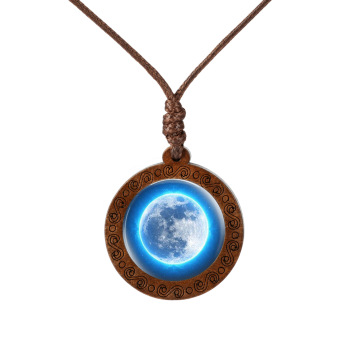Galaxy Nebula Space Earth Glass Cabochon Wooden Circle Pendant Necklace  Mens Necklaces Women's Necklaces