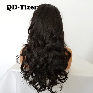 Image 3 - QD Tizer Natural Hairline Glueless High Temperature Fiber Hair Wigs Swiss Long Wavy 4# Brown Synthetic Lace Front Wig for Women