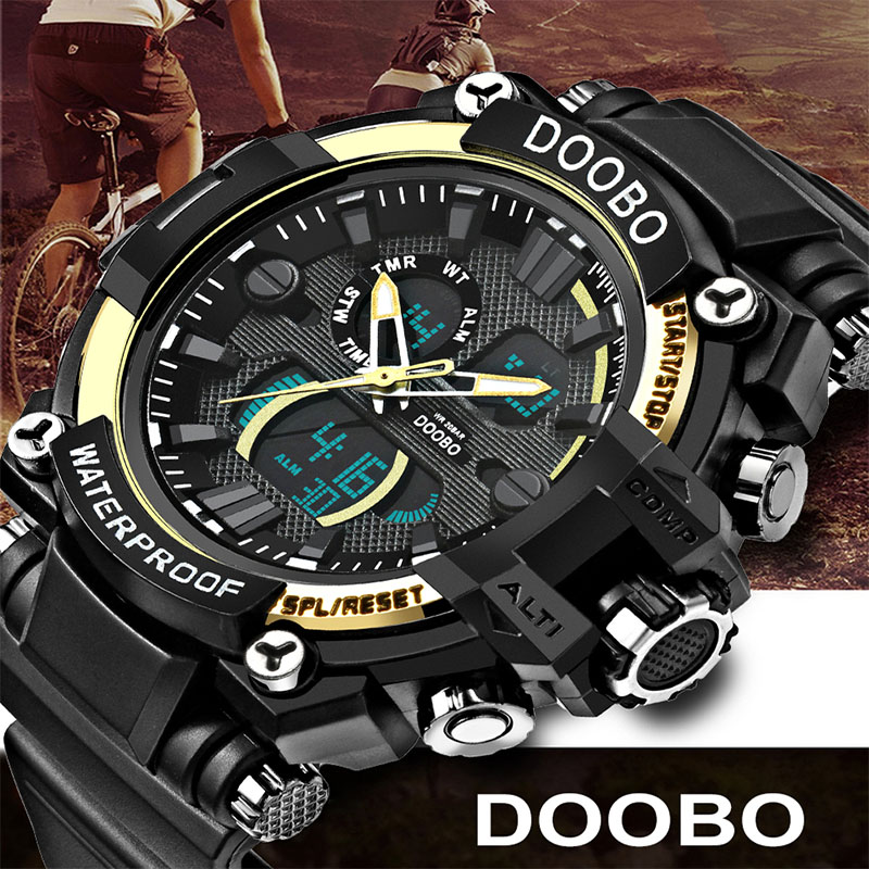 2017 DOOBO Men's LED Digital Watch Men Sports Watches Reloj Fashion Casual Relogio Masculino Clock Outdoor Military Wristwatches pedometer heart rate monitor calories counter led digital sports watch fitness for men women outdoor military wristwatches