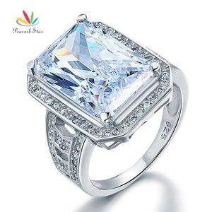 Peacock gwiazda 8.5 Carat stałe 925 Sterling srebrne wesele pierścionek zaręczynowy biżuteria CFR8116
