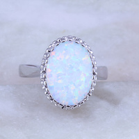 Flawless White Opal Oval Ring 925 Stamp Silver Plated J0528 Size 6 7 8 9 Free