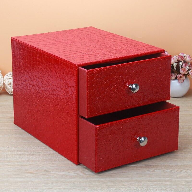 Multi funzionale creative desktop cura della pelle Contenitori per frigo e biancheria di cuoio con armadio di stoccaggio di legno file di office box di smistamento ZP7041113 - 5