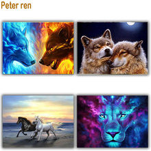 Peter ren Diamond painting 5d Round & Square diamond mosaic Rhinestone Full embroidery Home decor Wolf horse lion color