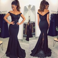 Navy Blue Mermaid Bridesmaid Dresses 2019 High Quality Beaded Lace Floor Length Long Formal Party Gowns Cheap Women Dress