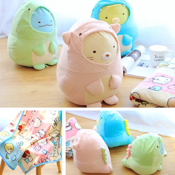 Candice guo! plush toy San-x Sumikko Gurashi corner biological cat penguin turn to dinosaur doll cushion blanket birthday gift отпариватель centek ct 2371 голубой