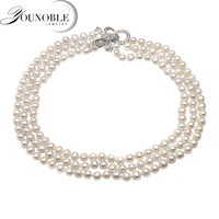 Real natural freshwater pearl necklace women,beautiful small size choker 3 multi layer necklace