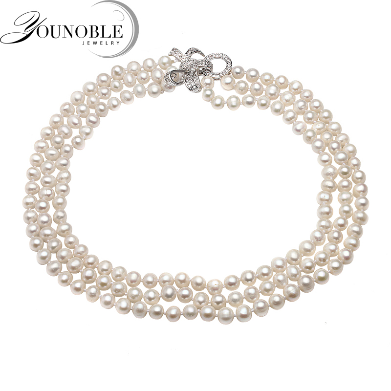 Real natural freshwater pearl necklace women,beautiful smal size choker 3 multi layer necklace multi layer necklace with moon pendant necklace
