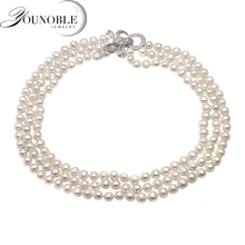 Real natural freshwater pearl necklace women,beautiful small size choker 3 multi layer
