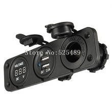 Car Charger Motorcycle Plug Dual USB Adaptor+12V/24V Cigarette Lighter Socket Blue LED +Digital Voltmeter For GPS Camera Phone