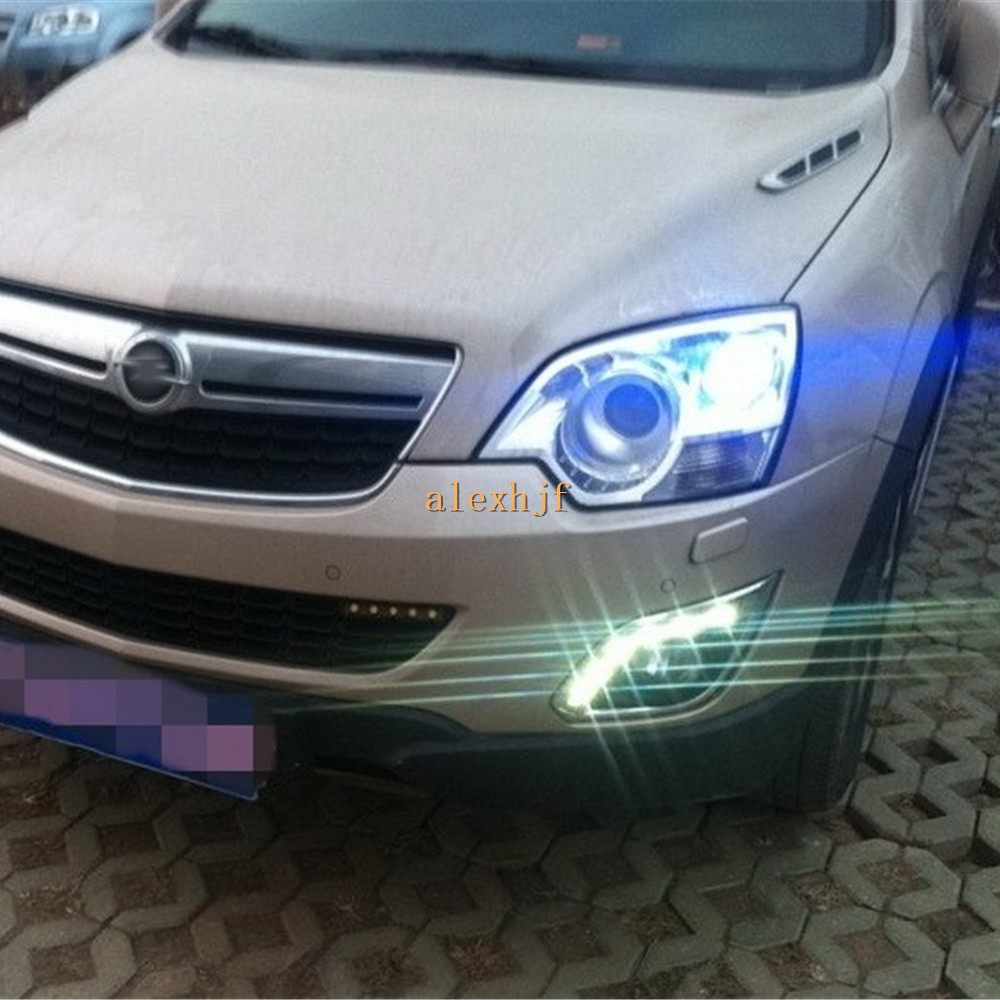 July King LED Daytime Running Lights DRL Case for Opel Antara 2011~ON,  LED Front Bumper Fog Lamp With Cover, 1:1 Replacement july king led daytime running lights drl case for ford mondeo 2011 2012 led front bumper fog lamp 1 1 replacement 1 pair lot