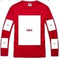 2014 Marca de Fábrica Famosa Campana Por Aire de Los Hombres de Manga Larga Camiseta de Los Hombres Rap Hip Hop HBA Camisetas Hombre 8 Estilos Algodón Libre gratis