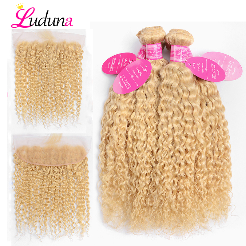 Luduna Brazilian Water Wave 613 Blonde Human Hair 4 Bundles With Lace Frontal Closure Human Hair Weave Remy Hair Extension