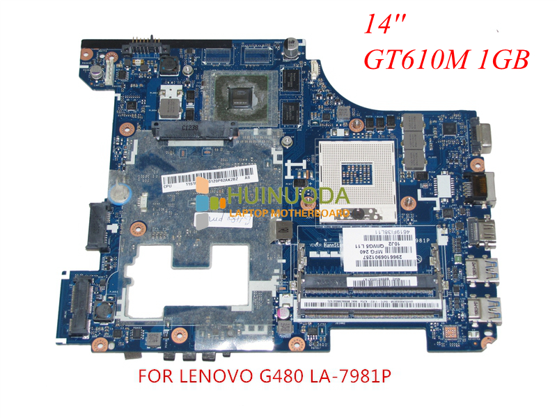 NOKOTION QIWG5 LA-7981P Notebook PC Main Board For Lenovo G480 Laptop Motherboard System Board DDR3 GeForce GT610M nokotion notebook pc motherboard for lenovo ideapad g500 main board system board viwgpgr la 9632p hm76 ddr3